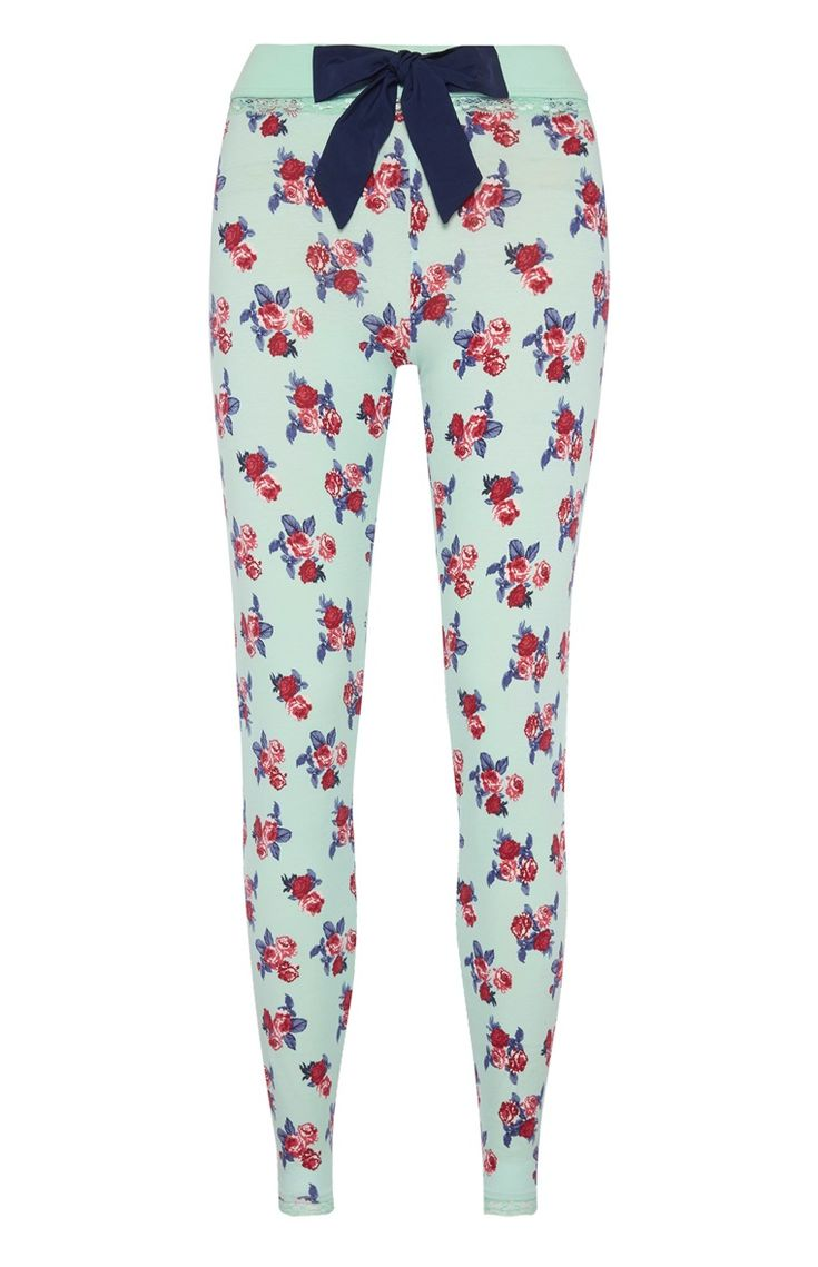 Primark - Rose Print Lace Trim Pyjama Leggings