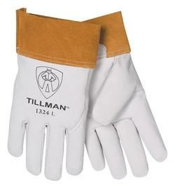 "Tillman™ Medium Pearl Top Grain Goatskin Standard Grade TIG Welders Gloves With Wing Thumb, 4"" Cuff, Seamless Forefinger And Kevlar® Lock Stitching"
