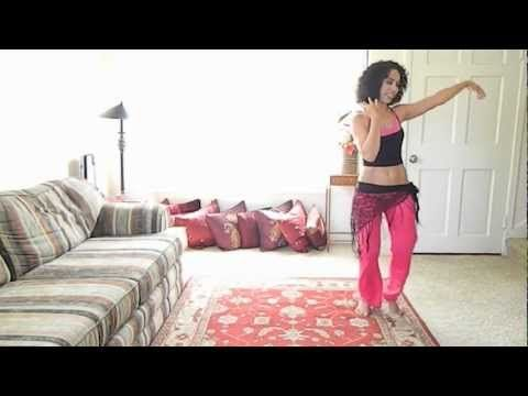 """Tiazza Rose's """"The Belly Dance Shimmy Workout: I love this 25-minute routine. When it got to the toe-up shimmies, it felt like a cross between the Hammer dance and those warm-ups football players do, just lighter. This one will definitely make you sweat!"""