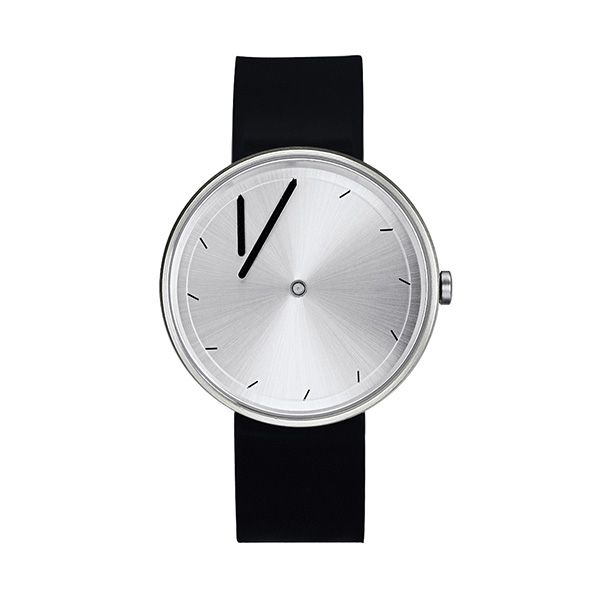 """The brand Projects features watch models designed by designers from all over the world. Each watch is designed around a theme. This model, Twirler Steel, has the theme """"Time has a floating concept"""". Both the hour and minute hand lay at angle and turn """"clockwise"""" to align perfectly with the index marks. Twirler's hands have moved outward from the center of the dial and angled at 30°, creating a dynamic picture of time."""