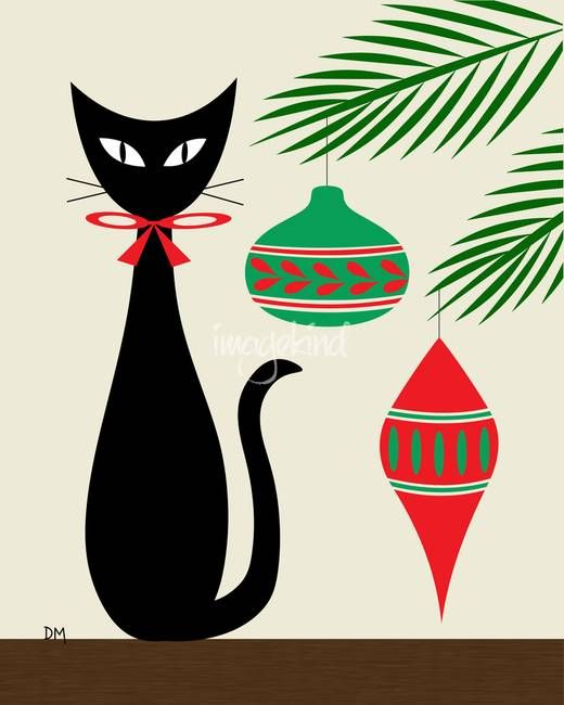 Holiday Cat on Cream by Donna Mibus