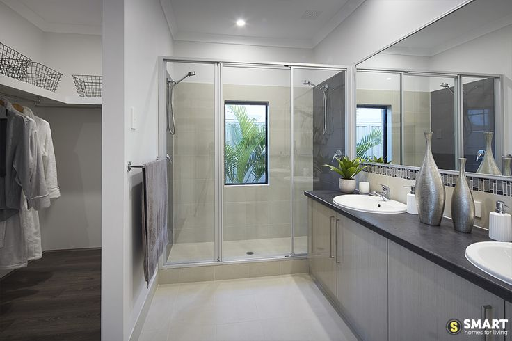 The Apex sophisticated master ensuite, with double basins, a double shower and huge walk in robe.