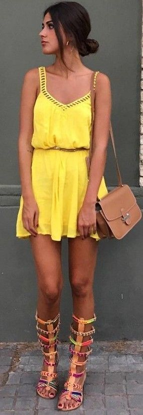#summer #high #casual #outfits   Yellow Romper + Gladiators