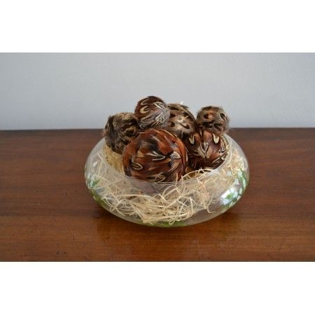 Box of 6 assorted pheasant feather decorative balls - £24