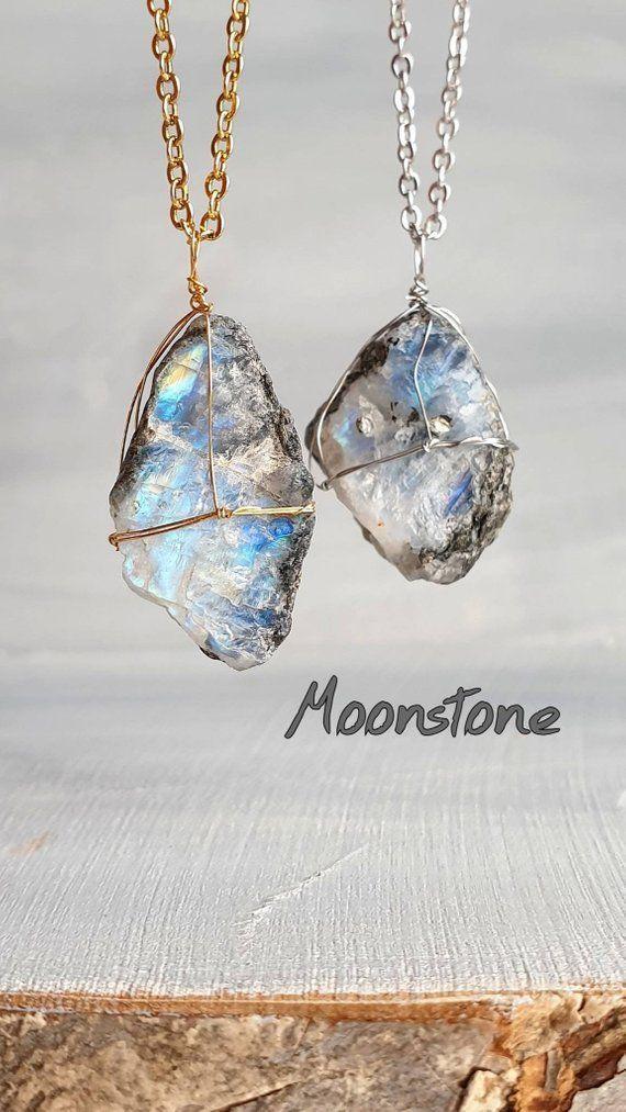 Wire Wrapped Moonstone Pendant Rainbow Moonstone Point Pendant Rainbow Moonstone Pendant