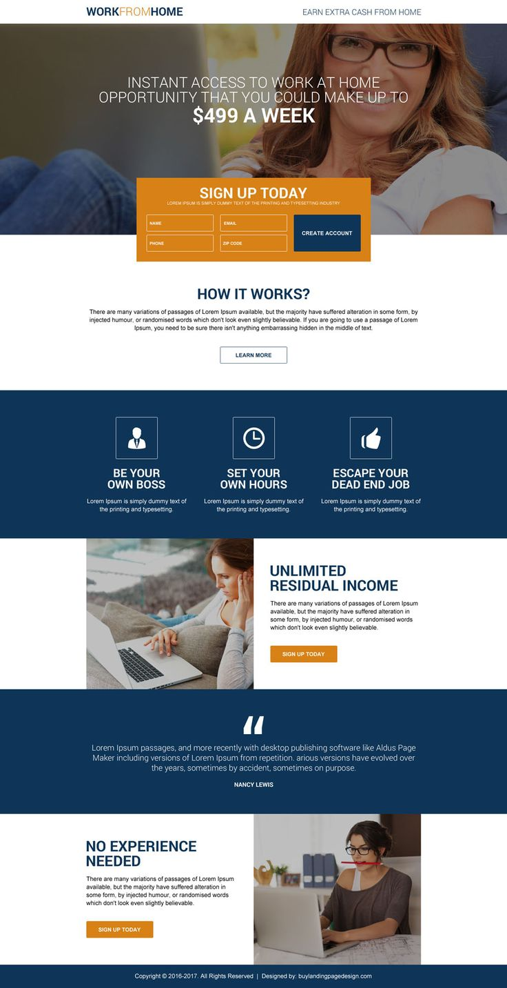Full Time Work From Home Job Sign Up Generating Landing Page