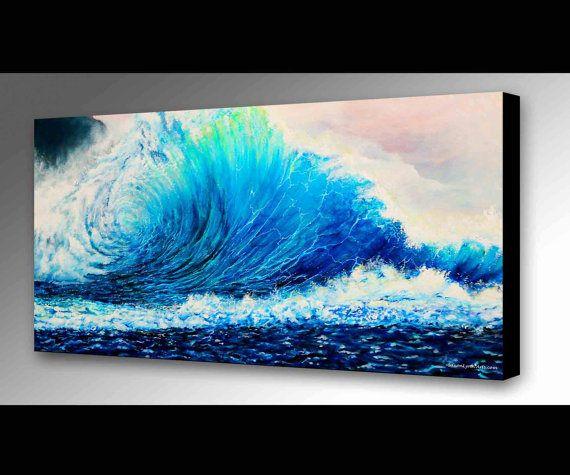 Original Crashing Wave Painting | Surf Painting | Ocean Painting | Nautical Art | Hawaii Painting | Wall Art | Seascape Painting | Surf Gift  #oceanart #art #wallart #waves