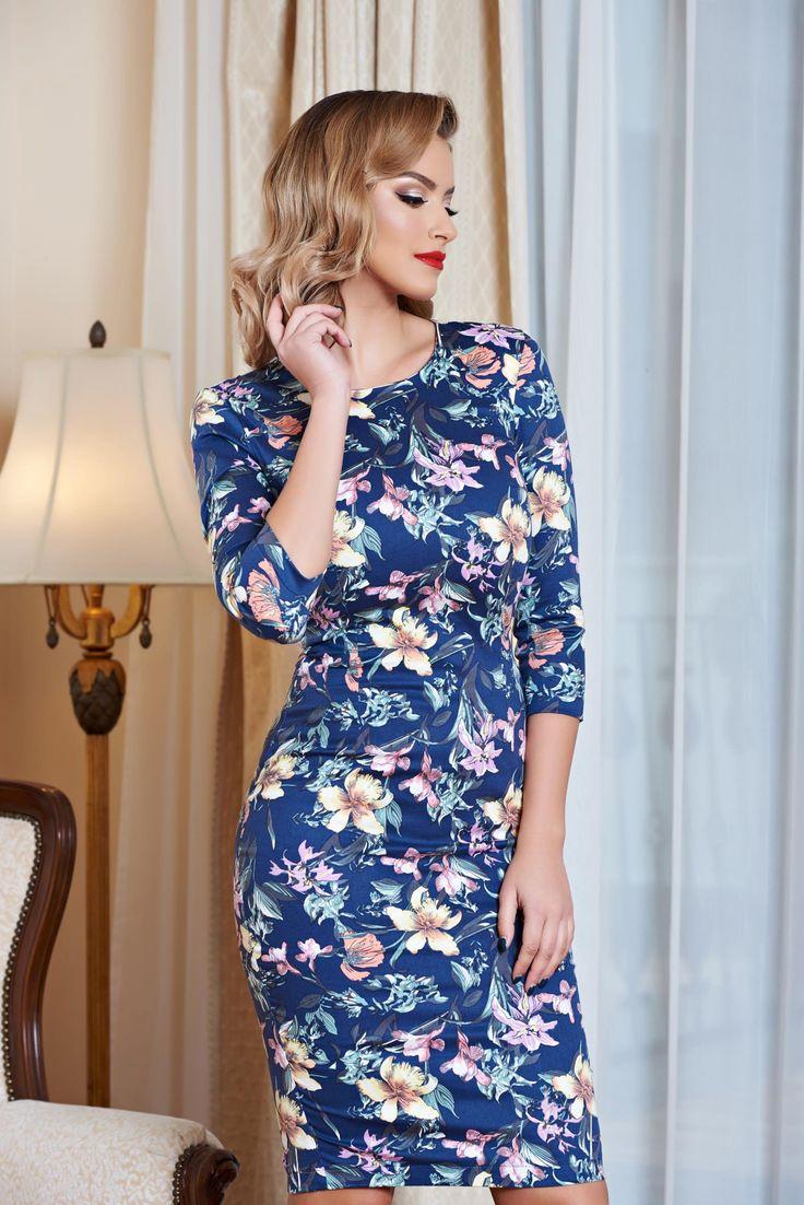 Comanda online, Rochie StarShinerS Flower Desire Blue. Articole masurate, calitate garantata!