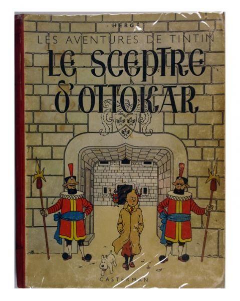 """Hergé - Tintin - Le sceptre d'Ottokar, tome 8, A18, dos rouge pellior 1942. Garde[...], mis en vente lors de la vente """"Bandes Dessinées"""" à Geneva Auctions   Auction.fr"""