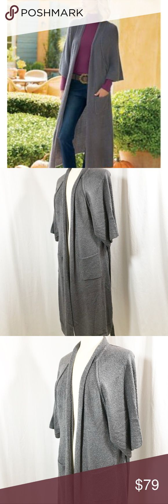 """Soft Surroundings Boucle Long Kimono Cardigan Soft Surroundings Boucle Long Kimono Cardigan Dark Slate Gray Sweater Softness to the max, this long bouclé cardigan features an open front with self-belt, raglan sleeves and slouchy patch pockets. It's a versatile toss-on in a rich neutral shade, and handy to have around when the temperatures dip.  83% Acrylic 15% Nylon 2% Spandex ~ Machine wash  Brand New with Tags ~ $110  Women's Size Small Underarm to Underarm - 23"""" Top of Shoulder to Hem…"""