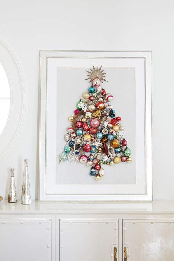 Holiday ornament framed christmas tree: http://www.stylemepretty.com/living/2016/11/14/behind-the-scenes-gossip-from-our-family-circle-shoot/ Photography: David A. Land - http://www.davidaland.com/