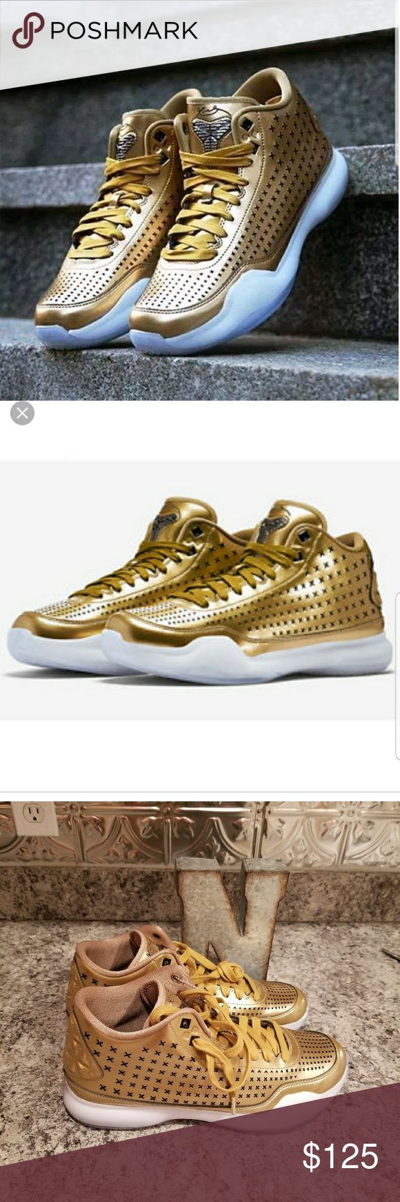 """NWOB! Mens Nike Metallic Gold Kobe Bryant X Mid BRAND NEW METALLIC GOLD KOBE X MID.   Sizes 10, 10.5, 11  Msrp $225   What's there to say about these Kobe X Mid amazing colorway harder & harder to find. Perfect shoe for the collection or to wear when you wana stand out from the crowd. No box.  This """"Liquid Gold"""" version is sure to grab anyones attention as the shoe is fully dressed in a Metallic Gold and Black color scheme. The entire upper is done in its x-perforated pattern that is dipped…"""