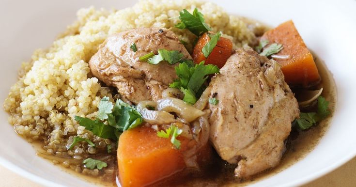 Lower GI - but not in flavour - this dish of chicken and sweet potato is a one pot wonder.