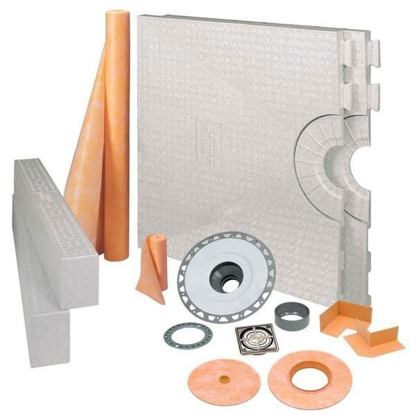 Schluter Kerdi Shower Kit Center Drain Tray Brushed Nickel Anodized Aluminum - Pvc Flange 32x60