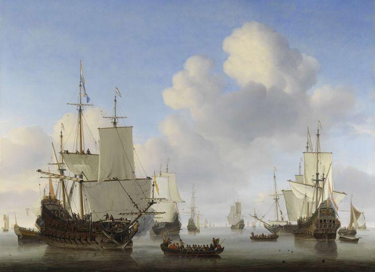 Willem van de Velde de Jonge - Hollandse schepen op een kalme zee (1665)