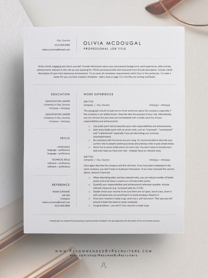 Simple And Clean Resume Template Professional Business Cv Template Instant Download Resume For Word And Pages Free Resume Writing Guide In 2020 Minimalist Resume Template Resume Design Creative Clean Resume Template