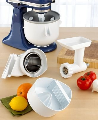 For my 16 year old chef. Kitchen Aid Mixer Attachments  (macys.com): slicer/grater, juicer, pouring shield