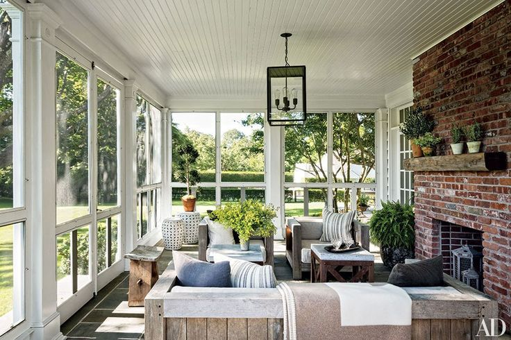 Built around 1840, this Bridgehampton, New York, home owned by AD contributing editor Rebecca Bond and her husband, Jon, includes a screened porch with a brick fireplace.
