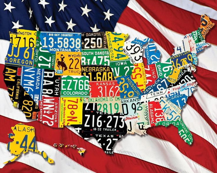 Best USA Images On Pinterest Map Of Usa Usa Maps And - Us map license plate puzzle