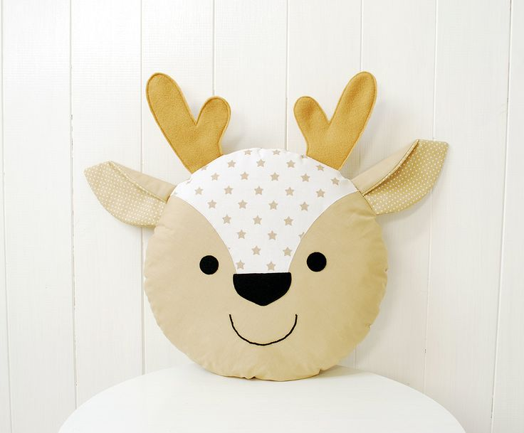 Deer Pillow for kids Fawn cushion Reindeer doll antlers by Jobuko on Etsy