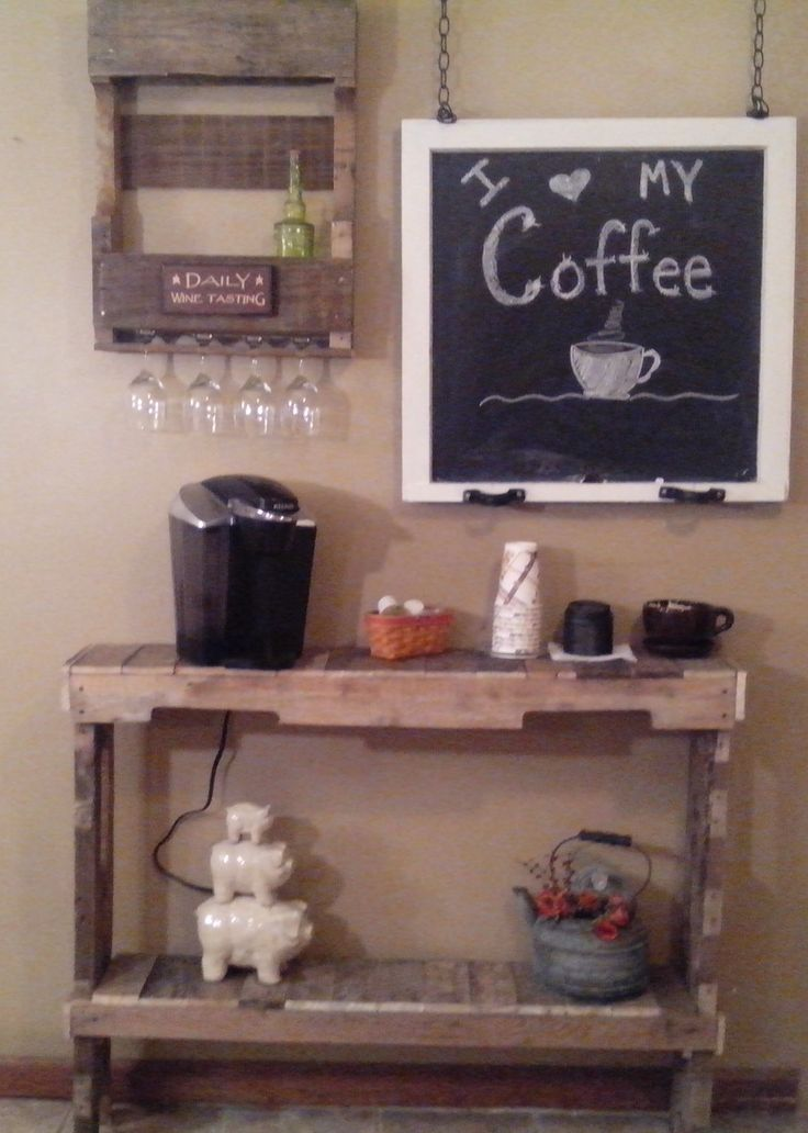Coffee bar and wine rack made from pallets that Carol made ...