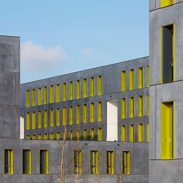 bogevischs buero, München, Studentenwohnheim, Ulm, Beton, Fertigteile, Farbe…