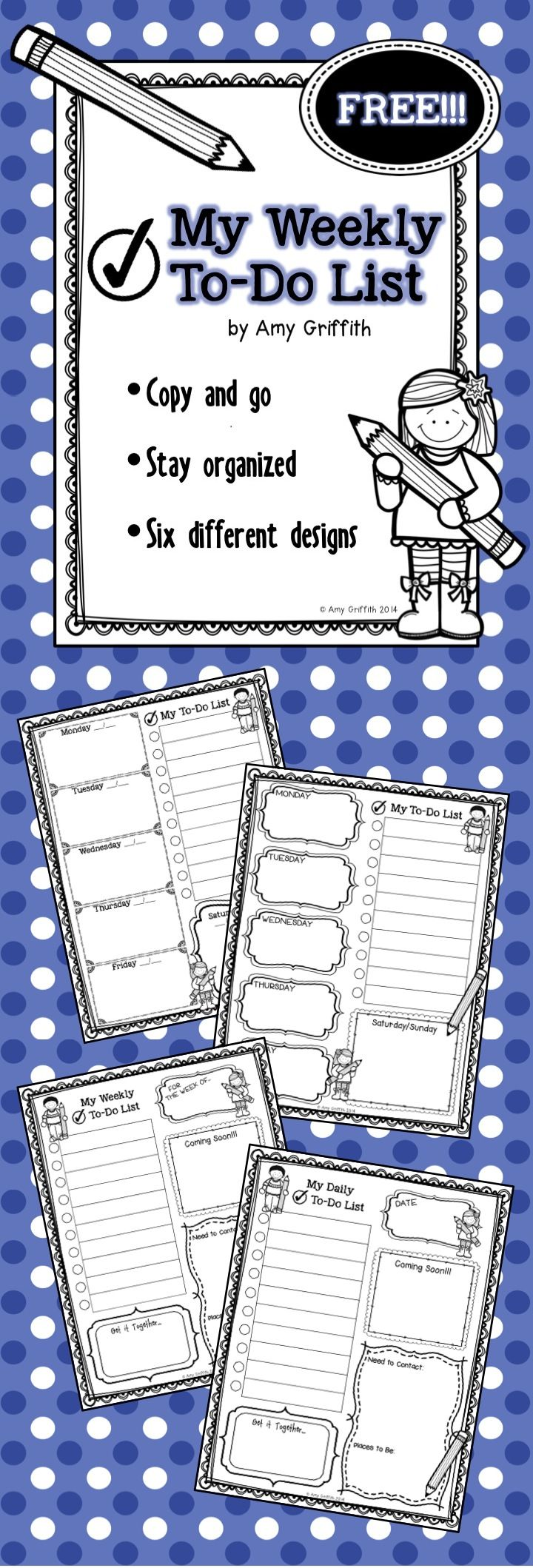FREE!!! Weekly and Daily to do lists. Just print and copy. Six different formats to choose from.