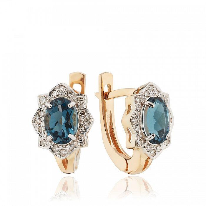 Серьги с топазом London и бриллиантами  14810 тов № 585-198949 – ювелирный интернет-магазин 585