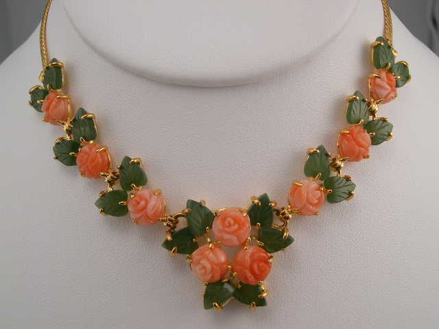 Coral Rose Necklace Set (pink coral roses are 8mm)