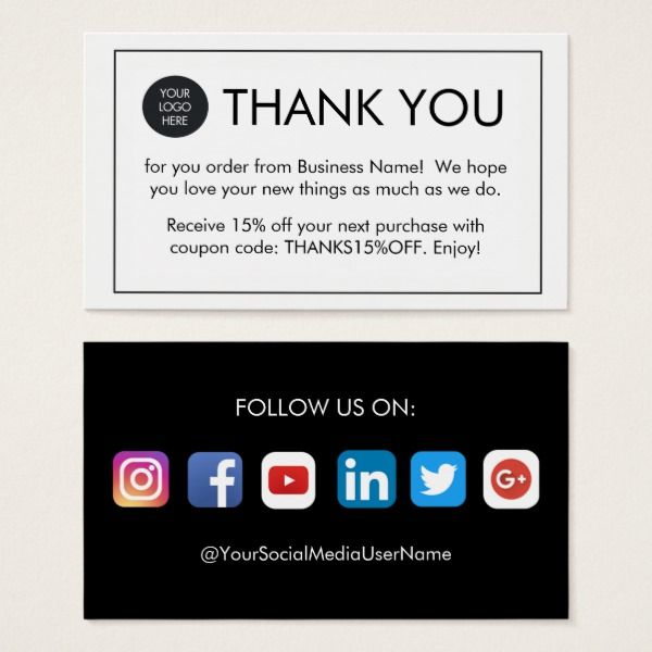 Custom Thank You For Your Order Business Cards Custom Office Supplies  #business #logo #