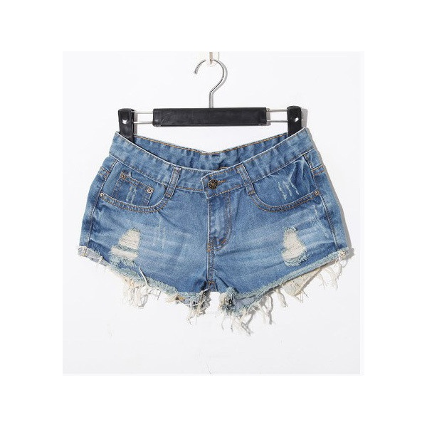 Light Blue Casual Ripped Star Mid Waist Denim Shorts ($33) ❤ liked on Polyvore