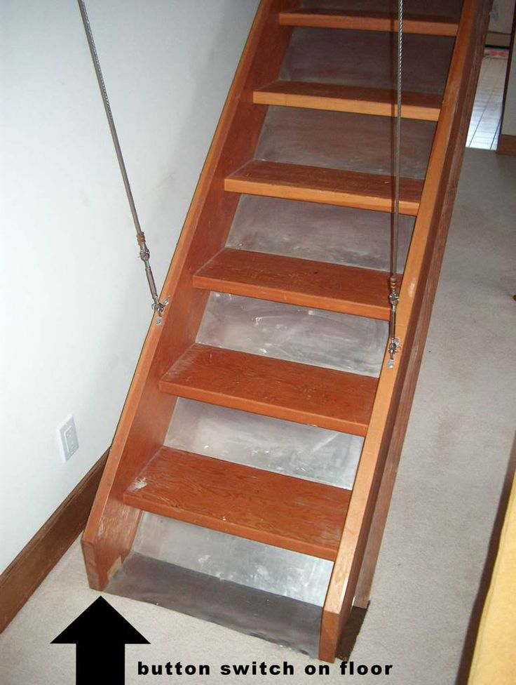 Retractable attic staircase attic pinterest attic for Garage loft stairs