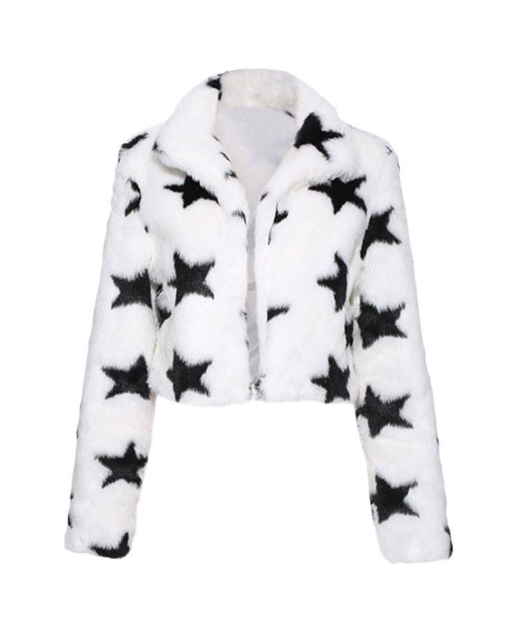 Stars-pattern Open-front Slim Cropped Faux Fur Coat | BlackFive
