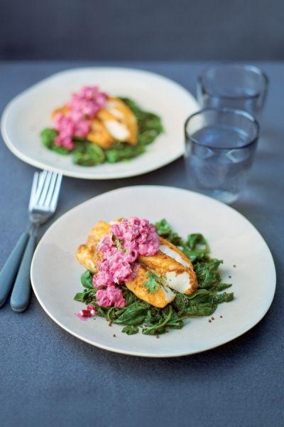Recept Madras-vis met raita van bietjes | ELLE Eten