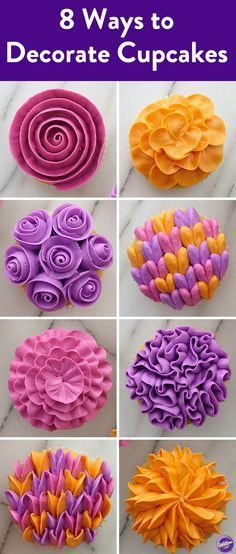 8 Ways to Decorate Cupcakes with Wilton Tip 104 - Let us count the ways we love icing tip 104. Try all 8 of easy cupcake decorating technique—each done using just one petal tip. Keep petal tip no. 104 handy to try all of these impressive flower cupcakes, like the ribbon rose and ruffled flower design and more.