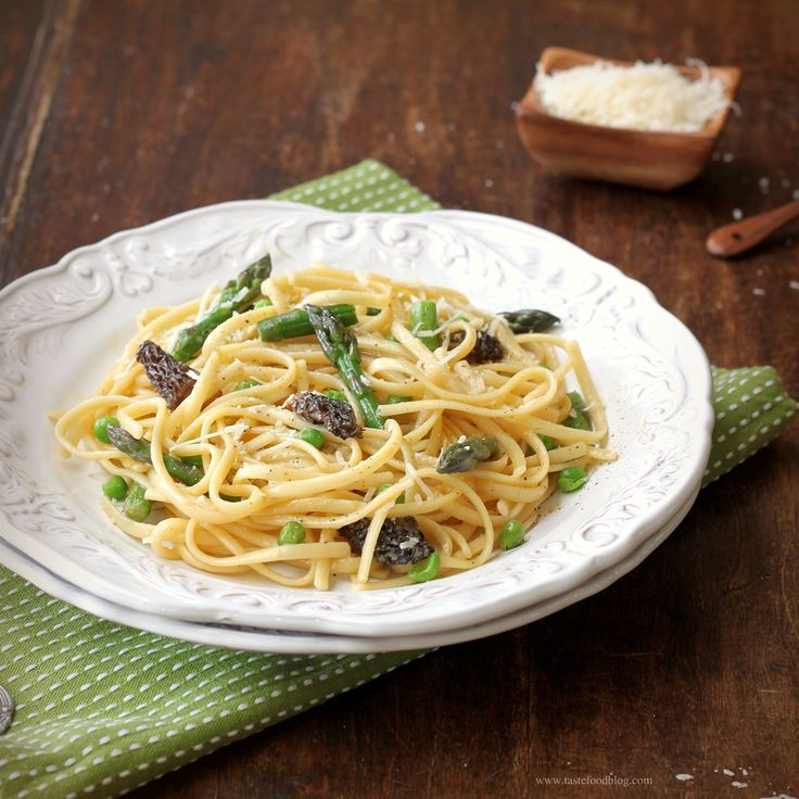 Linguine with Asparagus, Morels and Fava Beans | By: Taste Food | All ...