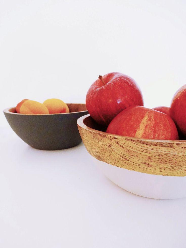 basteln malen kuchen backen: Kreidefarbe-Holzschüsseln und Not macht erfinderisch