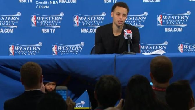 MVP dad Stephen Curry of the Golden State Warriors is no match for his scene-stealing toddler.