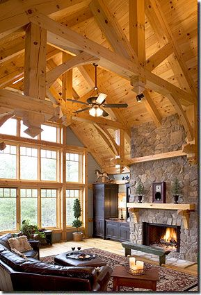 Best 25 timber frame homes ideas on pinterest timber for Post and beam living room ideas