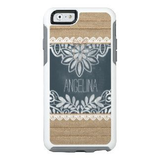 Rustic Burlap Lace Chalkboard Personalized OtterBox iPhone 6/6s Case