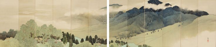 "Nishii Keigaku (1880-1937) Mountain Landscape Item number: T-3752  Size: H 66"" x W 146.5"" (167.64 x 372.11 cm)  Era: Taisho era (1912-1926)"