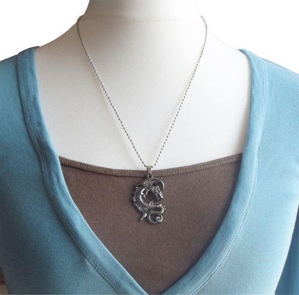 Halskette Titan Edelstahl Gothik Drache schwarz von Dream-Pearls auf DaWanda.com