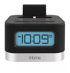 iHome IPL8BN FM Stereo Clock Radio Lightning Dock for iPhone iPod New   eBay