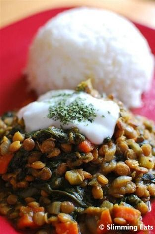Spicy Lentils and Spinach | Slimming Eats - Slimming World Recipes
