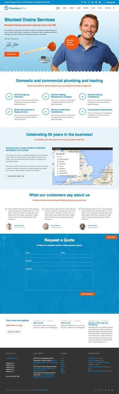 Plumbers Pro WordPress Plumbing Heating Theme  @ http://sundaestudio.com ✿ ✿ ☺