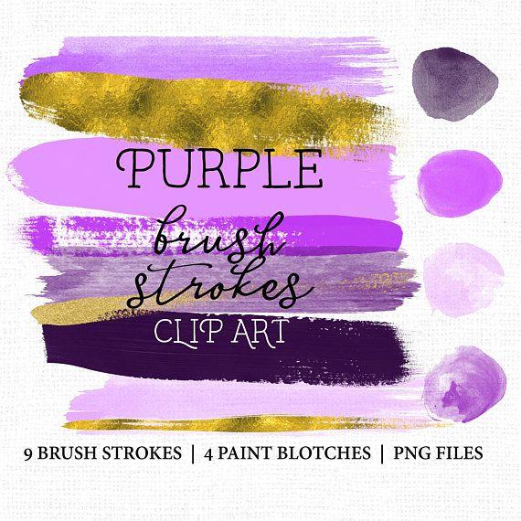 Brush Stroke Clip art.  Brush Strokes Purple and gold.