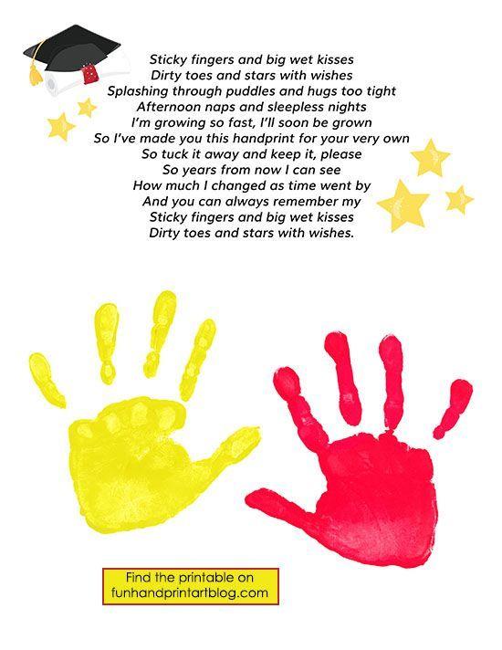 Keepsake Graduation Poem with Handprints | Dikt, Examen och Förskola