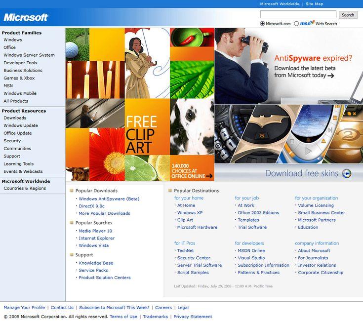 Microsoft website in 2005