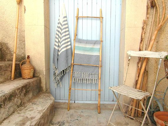 Bamboo ladder towel ladder 4 tread 4.8 ft or 1.5 mtr