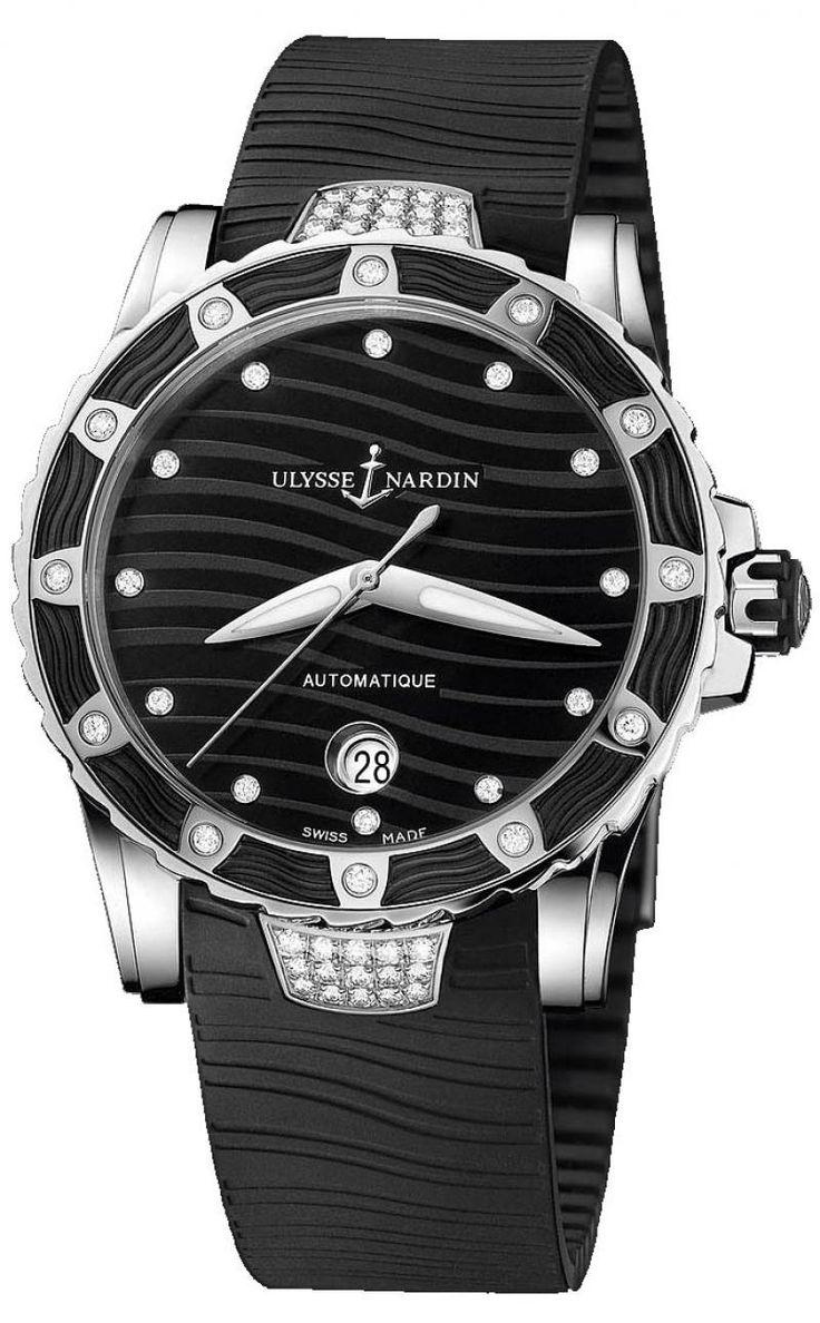 Ulysse Nardin 8153-180E-3C/12 Lady Diver Steel. #ulyssenardin - черные, белые - швейцарские женские наручные часы